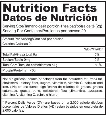 Tabla nutricional GanoCafé Rooibos Tea Gano Excel