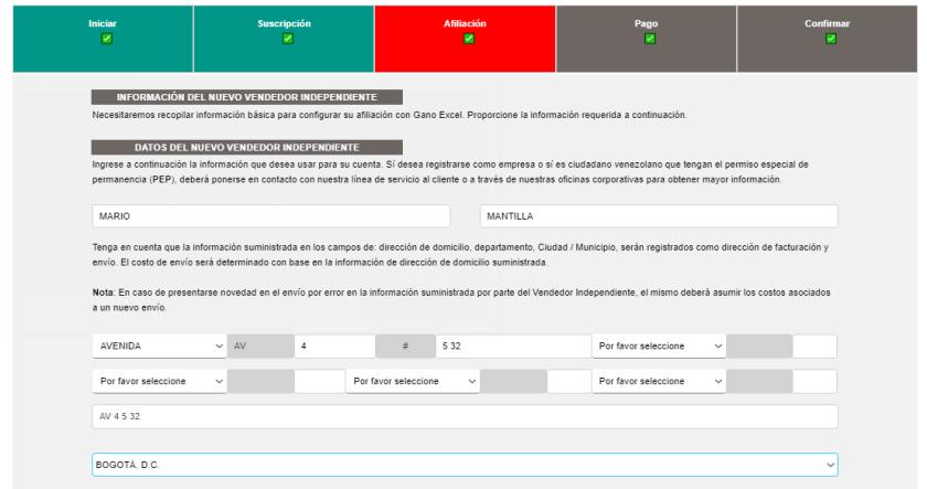 Datos personales nueva afiliación Gano Excel Colombia