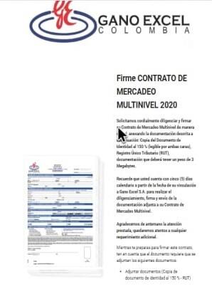Email para firmar el contrato de Vinculación