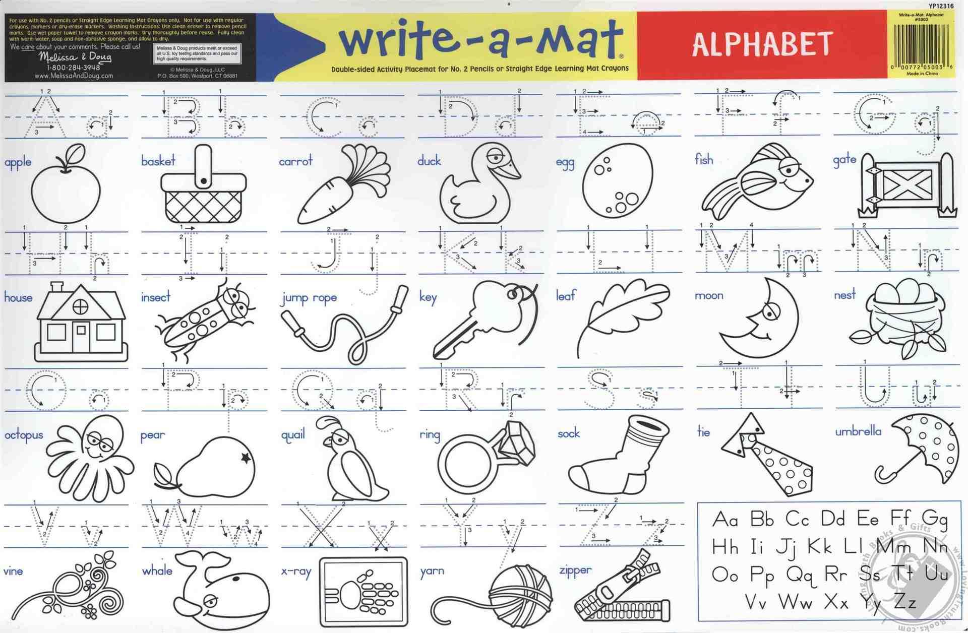 Write A Mat Alphabet Abc Learning Mat The Straight Edge