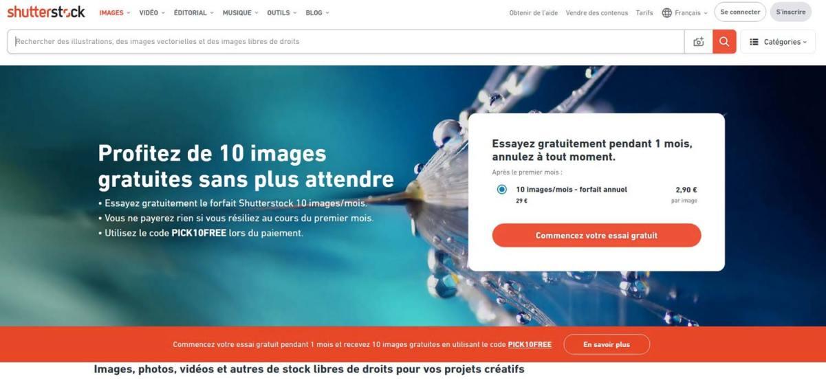 Page d'accueil de Shutterstock