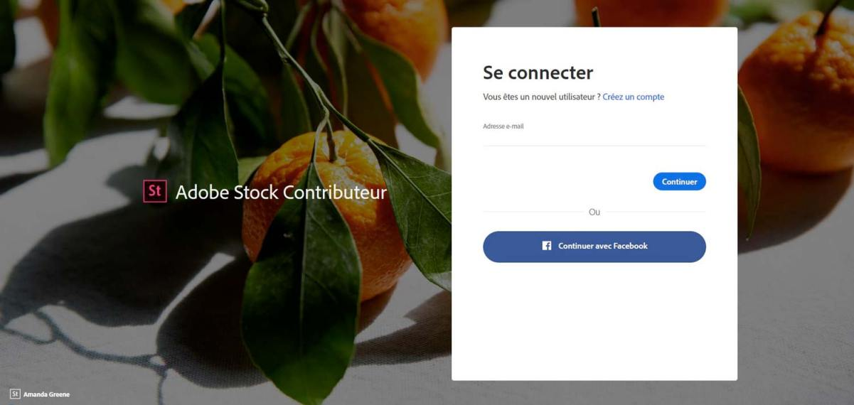 Connection au compte Adobe | Vendre ses photos en ligne