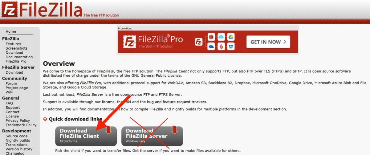 Filezilla pour client | Vendre sesphotos en ligne