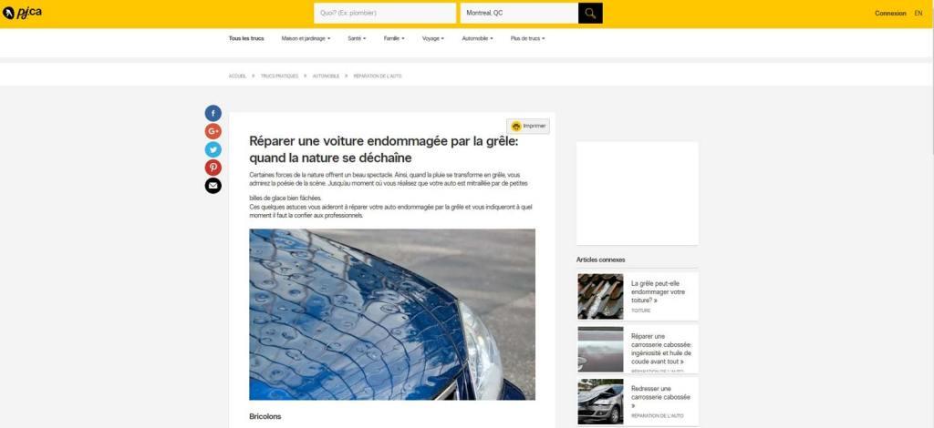 Ma photo voiture grêlée sur le site des pages jaunes canadien | Vendre ses photos en Ligne