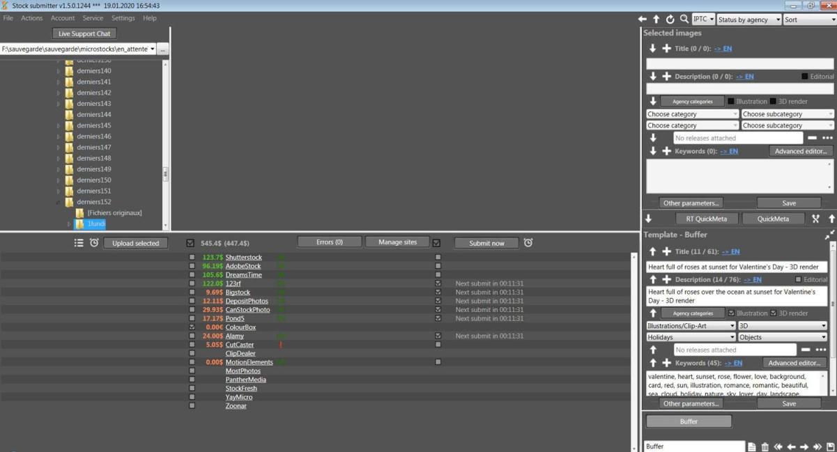 Interface de Stocksubmitter | Vendre ses photos en ligne