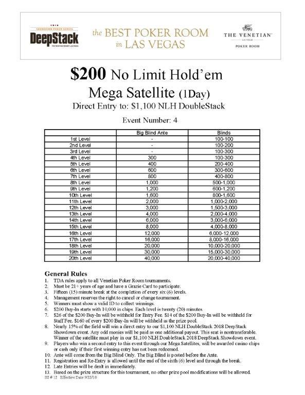 $200 NL Mega Satellite to $1100 online
