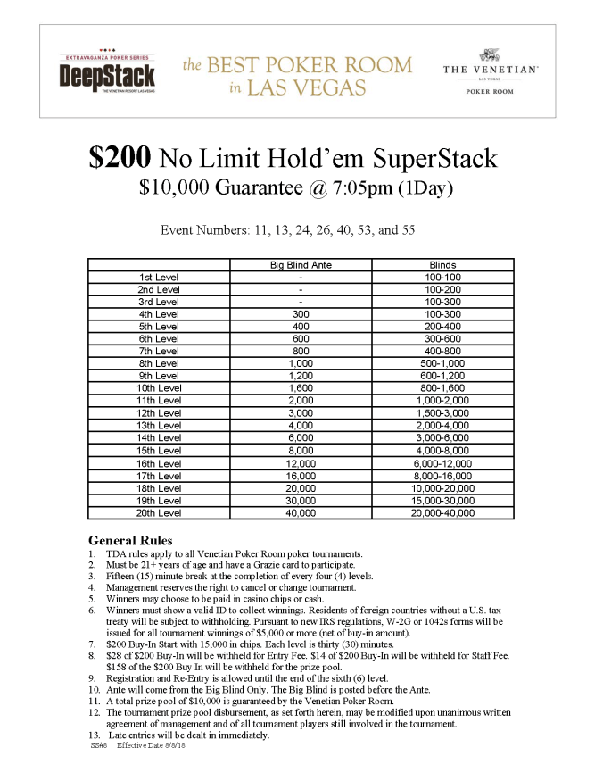 DSE IV $200 NL SuperStack @ 7pm (1Day)