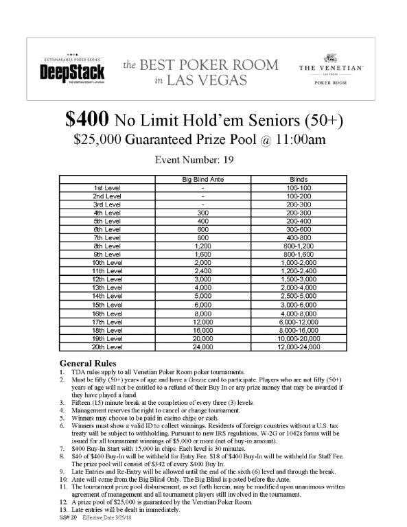 DSE IV $400 NLH Seniors