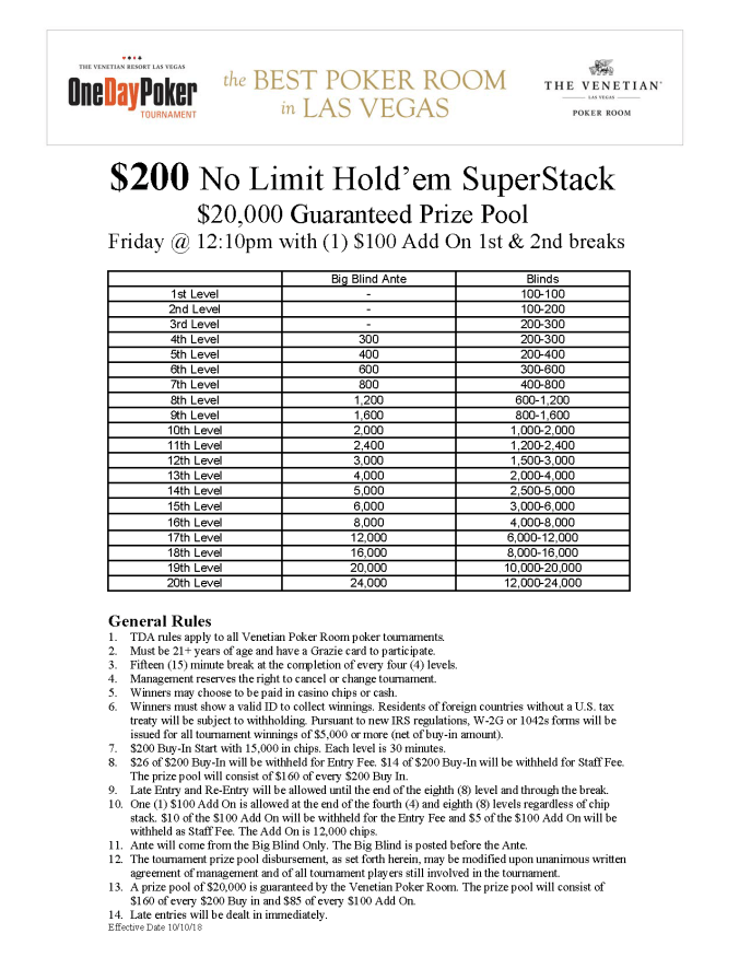 Fri 12pm $200 NL SuperStack $20K GTD