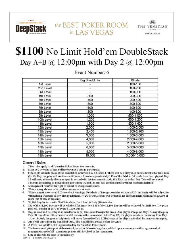 $1100 NL DoubleStack $150K GTD online