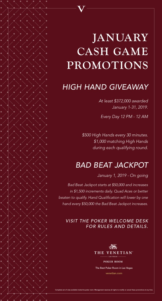 January Cash Game Promotions