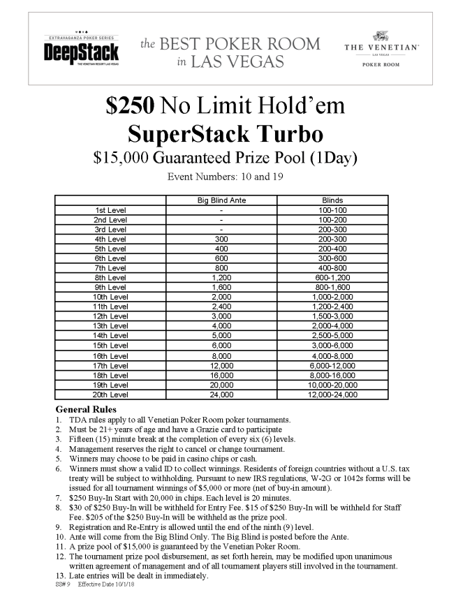 NYE $250 NL SuperStack Turbo 12pm