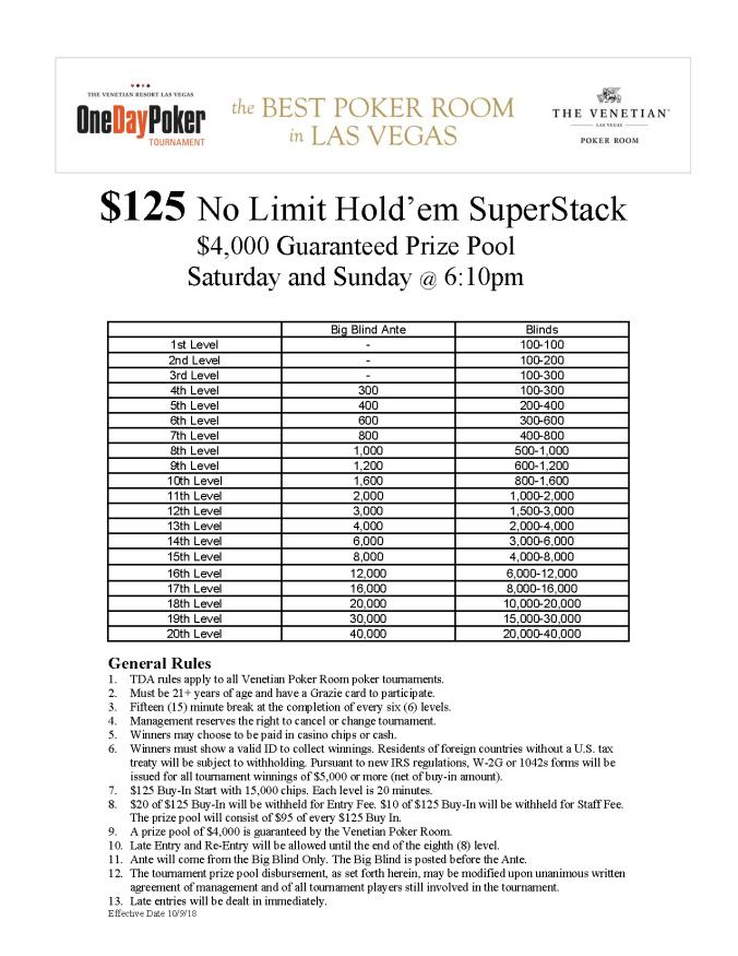 SaSu 6pm $125 NL SuperStack $4K GTD