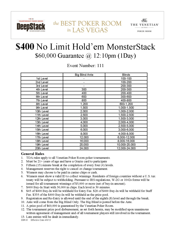 DCPS $400 NL MonsterStack $60K