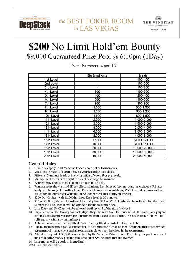 DSA $200 NL Bounty