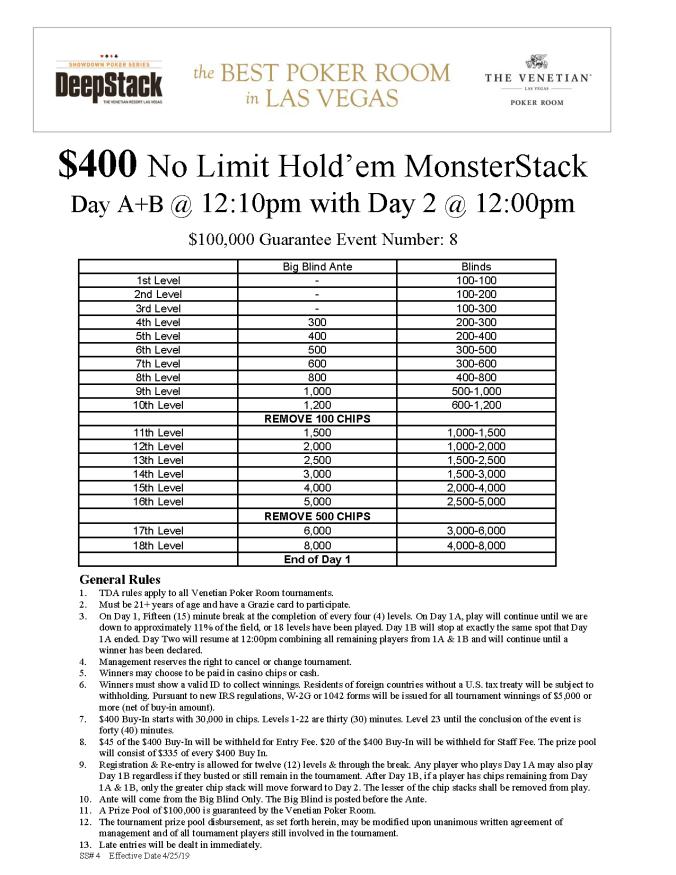 DSA $400 NL MonsterStack