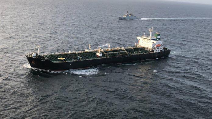 The Fortune, flanked by a Venezuelan Navy escort, continues en route to Puerto Cabello. (@NicolasMaduro)