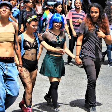 Trans men from the collective TRANSgresoras marched shirtless in defiance of bianary gender norms.