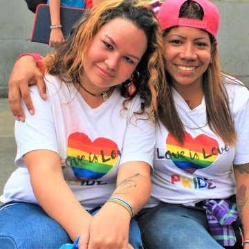 Lesbian couple expresses their love in Pride March