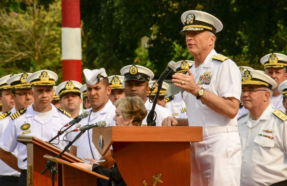 """Southern Command chief Admiral Craig Faller said the US Navy is """"ready"""" to intervene in Venezuela. (Dvids)"""
