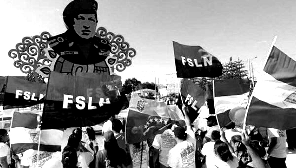 FSLN in a solidarity concentration by the Hugo Chávez monument in Managua, Nicaragua. (FSLN)