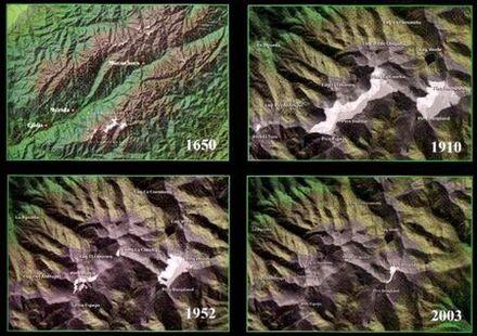 Fonte des glaciers dans la Sierra Nevada de Mérida
