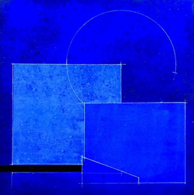 blu blu acrilico su carta