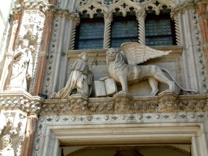 Detail of the winged lion of Venice on the Porta della Carta