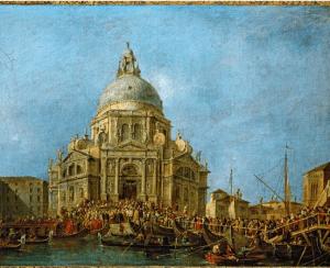 """Francesco Guardi """"Procession in front of Santa Maria della Salute"""" (1780) Source:ArtStor.org"""