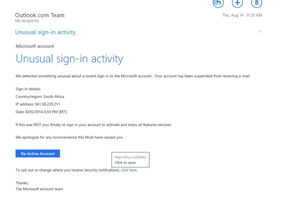 A convincing looking email masquerading as from Outlook.com-phishing attack