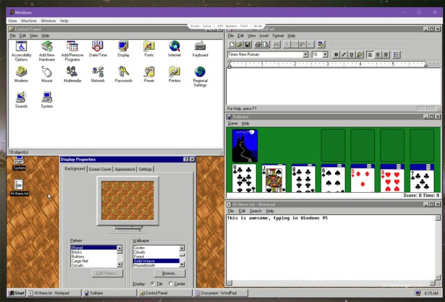 Most built-in apps of Windows 95 run well