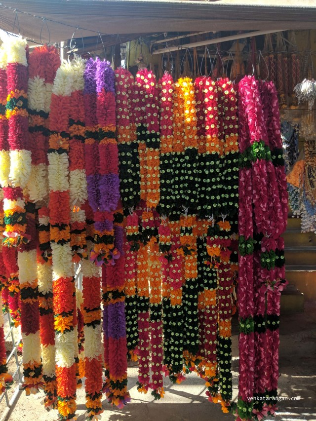 Beautifully hand threaded flower garlands, waiting to be offered to the Goddess