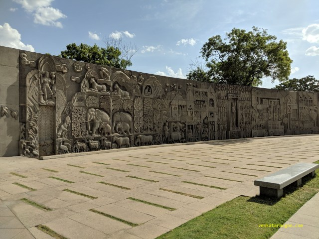 One section of the outer walls are covered with symbols representing animals, Indian culture and Mythology.