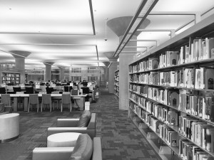 Third floor on the Central Library in Downtown Minneapolis. To the left and right are just stacks of shelves, and in the center is the computer area where people come and use them for various purposes.