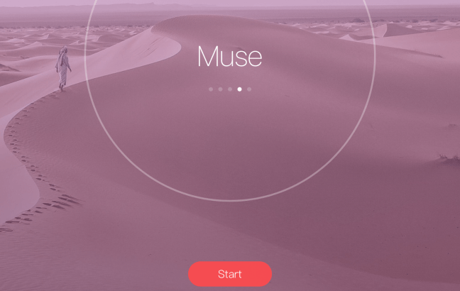 Minimal Interface. When you press the start button, a timer starts which is displayed in the circle. After every 25 minutes, there is a break of 5 minutes. The timer can be paused or stopped any time. Notice the inspirational quote at the bottom.
