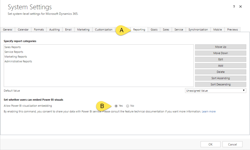 """image shows System Settings window  in CRM for Dynamics 365. The image shows that clicking the """"Reporting"""" tab and setting the option """"Allow Power BI visualization embedding""""  to Yes enables power bi dashboards in crm."""
