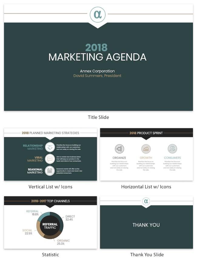 Professional Green Marketing Agenda Presentation Template