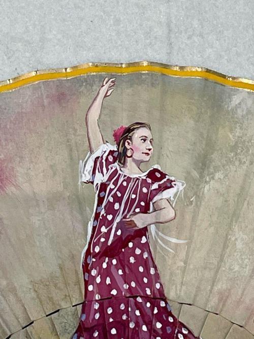 ballerina flamenco su ventaglio