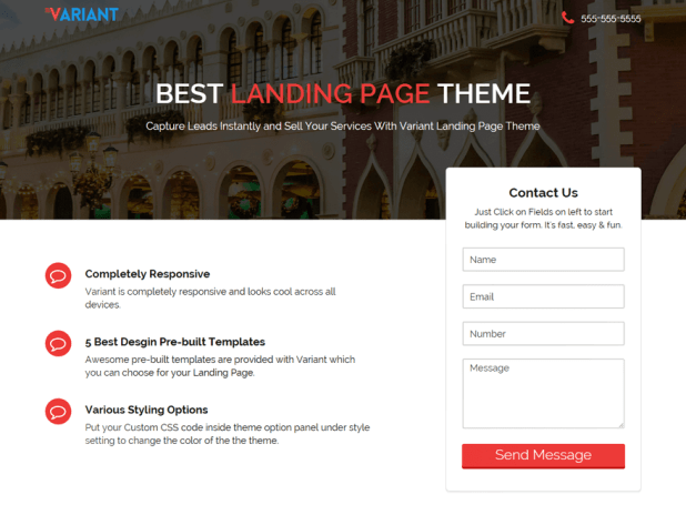 Variant Landing Page