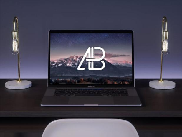 MacBook Pro on black Desk Mockup