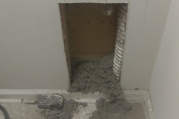 When we cut out the sheet rock behind the dryer we found the plastic venting had burst and dumped lint all inside the wall. We were able to extract all of the lint and cleaned everything up.