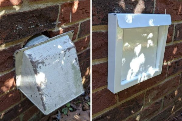 dryer vent hood replacement before after