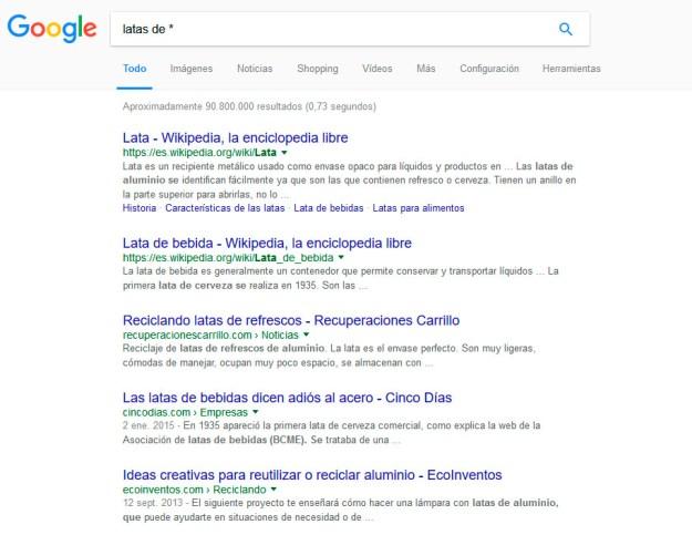 comando google asterisco