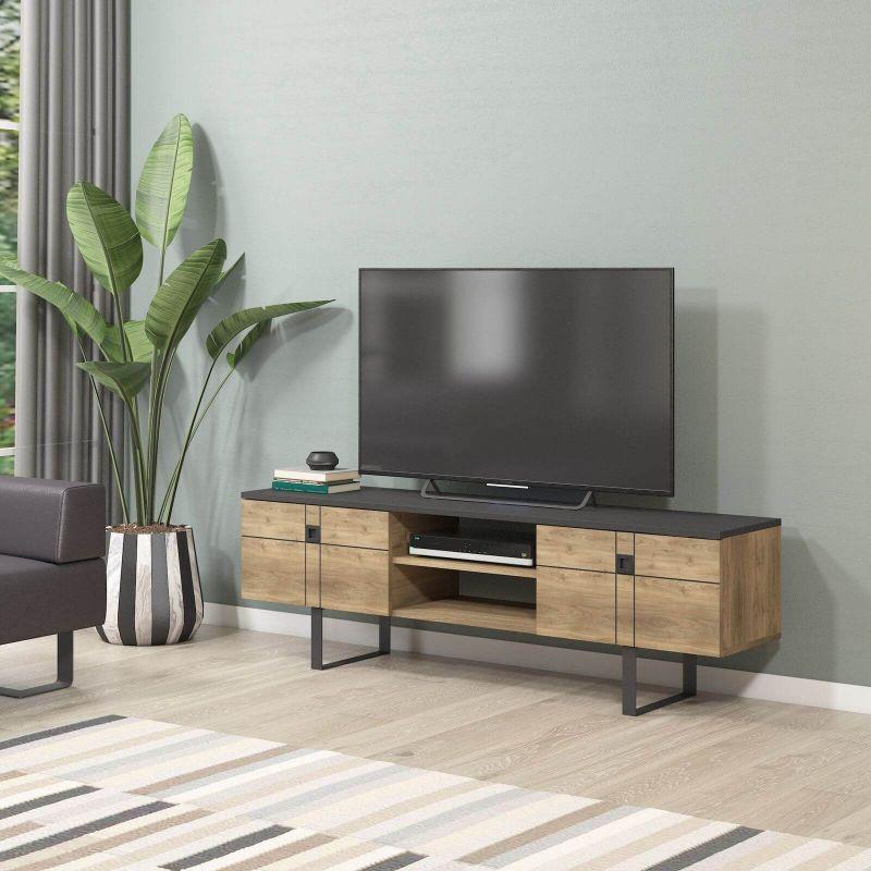 meuble tv flora noyer et noir pas cher