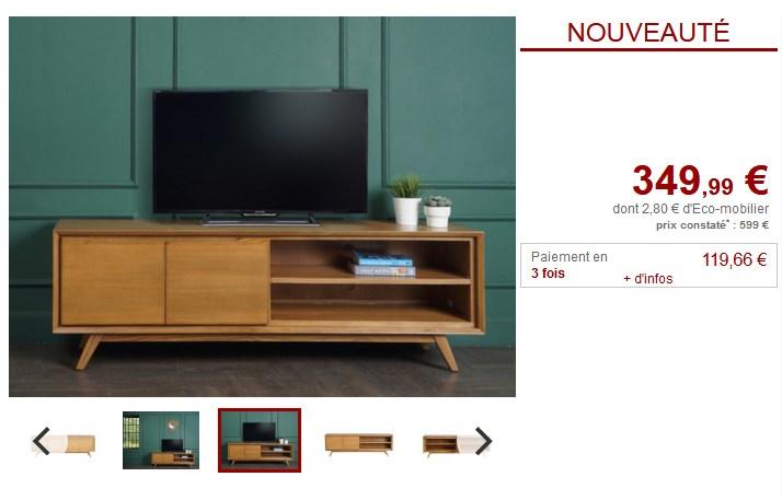 meuble tv jambi teck coloris naturel