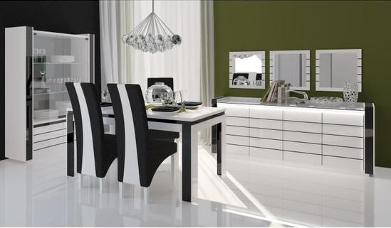 buffet blanc laque design lina 4 portes