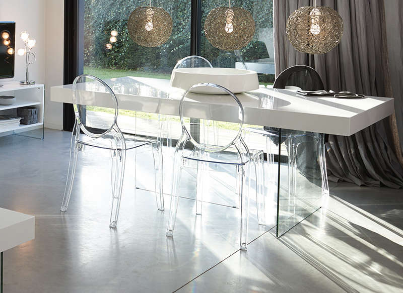 Soldes Table AchatDesign Table Pied Verre Laqu Blanche