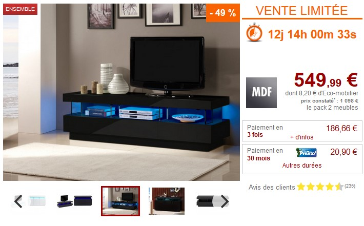 pack fabio buffet meuble tv avec leds