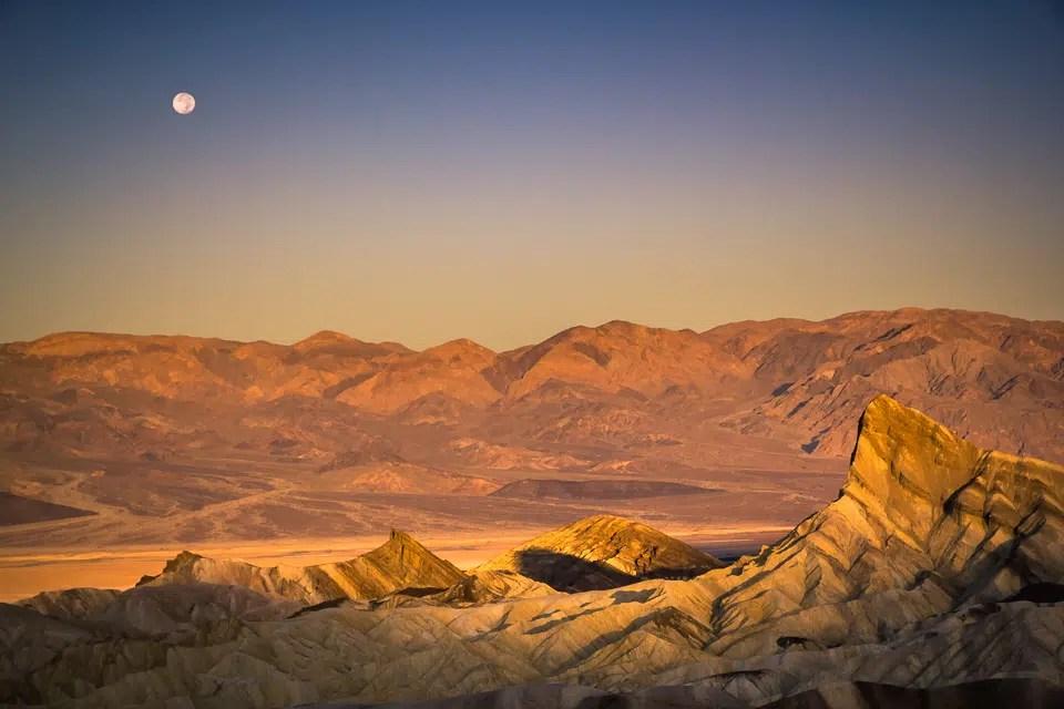 sunset at zabriskie point in death valley