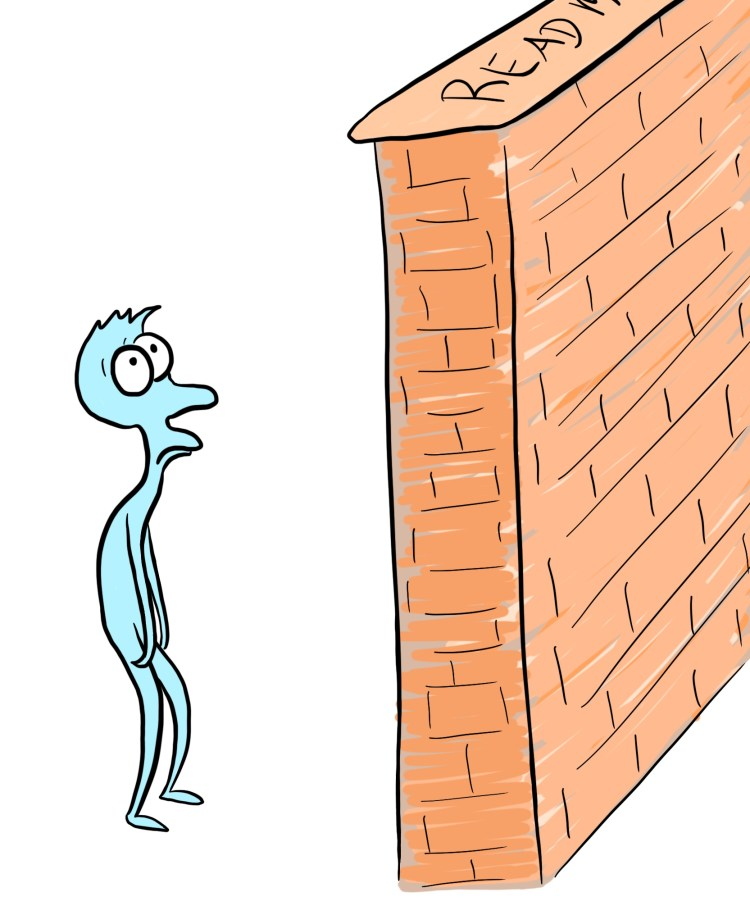Cartoon representing a solid wall of text